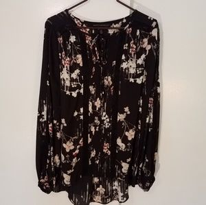 WHBM floral print high low blouse lace insets